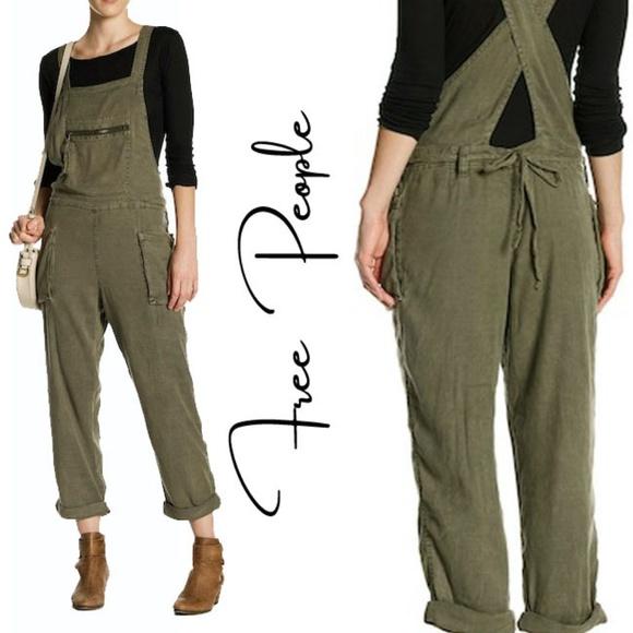 aeeab188897 New Free People Linen Lagenlook Overalls Moss